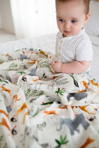 loulou LOLLIPOP - Muslin Swaddle Safari Jungle
