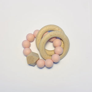 Sugar & Maple Silicone + Beechwood Teether- 2 Ring- Blush