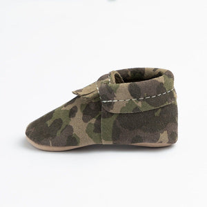 Freshly Picked Soft Sole Green Suede Camo City Mocc