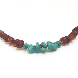 Canyon Leaf Baltic Amber Necklace - Raw Cognac + Raw Turquoise Howlite 11 inches