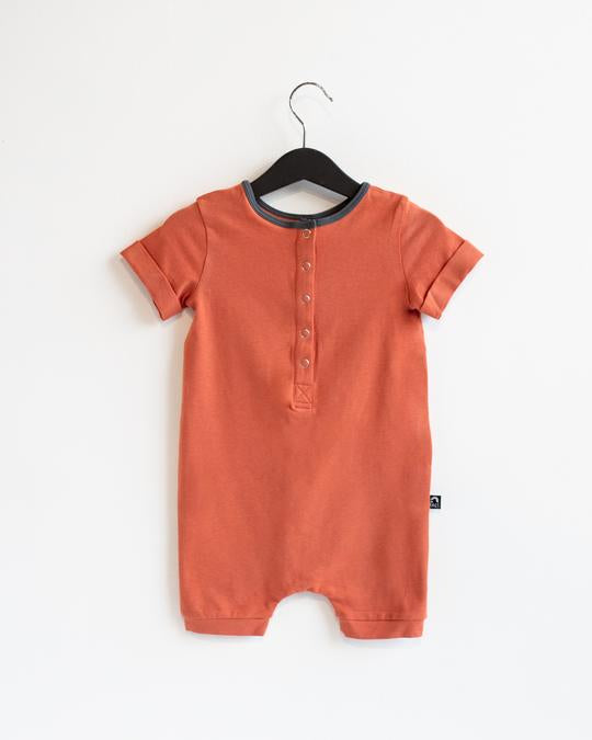 Rags Rolled Short Sleeve Henley Short Essentials Rag Romper in Ginger Spice