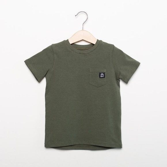 Rags Short Sleeve Drop Back Chest Pocket Kids Essentials Tee in 'Olive'