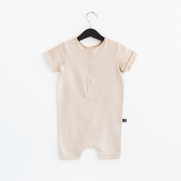 Rags Rolled Short Sleeve Henley Short Essentials Rag Romper in 'Moonlight'