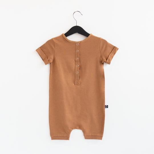 Rags Rolled Short Sleeve Henley Short Essentials Rag Romper in Cashew