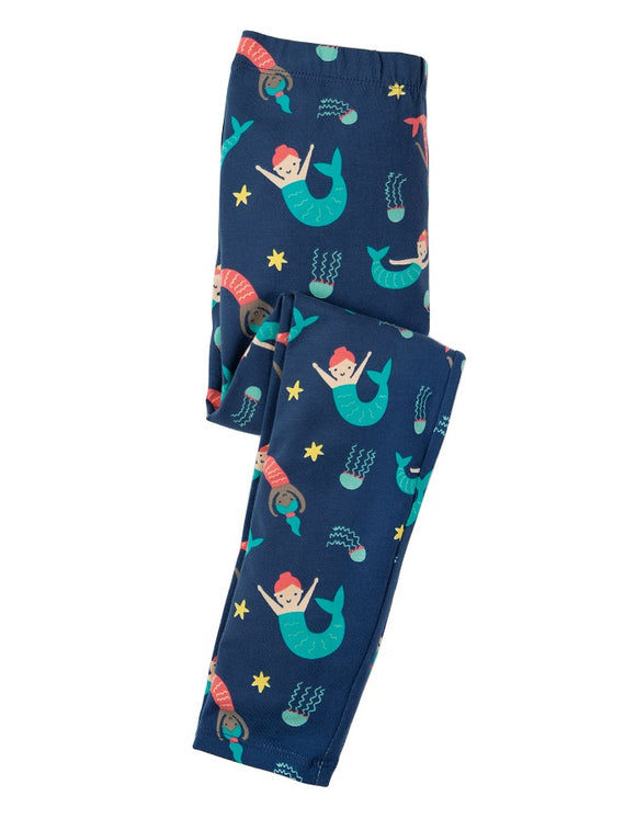 Frugi - Libby Printed Leggings Marine Blue Mermaid Magic (SS19)