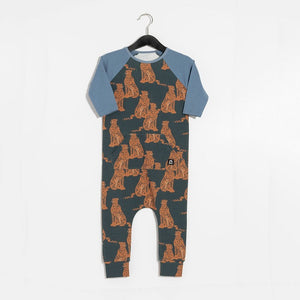 Rags 3/4 Raglan Sleeve Kangaroo Pocket Rag Romper in Cheetah