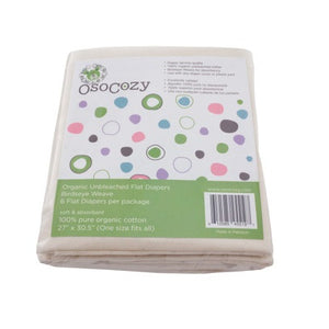 OsoCozy Organic Flat Cloth Diapers 6 Packs (Unbleached/Natural)