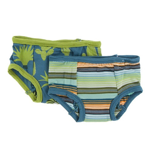 Kickee Pants - Training Pants Set in Seagrass Cactus & Cancun Glass Stripe