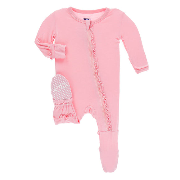 Kickee Pants Basic Muffin Ruffle Footie with Zipper in Lotus