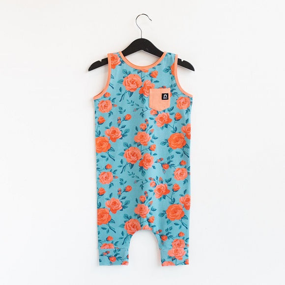 Rags Tank Pocket Capri Rag Romper in 'Rose Floral' Reef Waters
