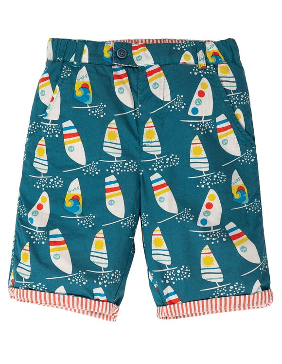 Frugi - Reuben Reversible Shorts in Steely Blue Ride The Waves (SS20)