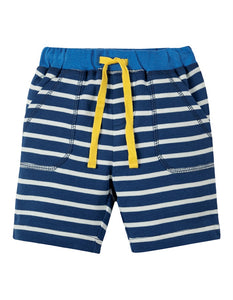 Frugi - Little Stripy Shorts Marine Blue Breton (SS19)