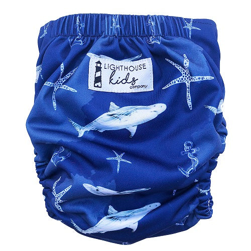 Lighthouse One Size All-in-One Diaper *DD Exclusive* - Shark Bait