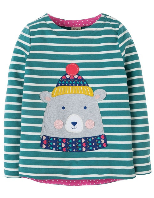 Frugi - Alana Cosy Applique Top River Blue Breton/Bear (AW18)