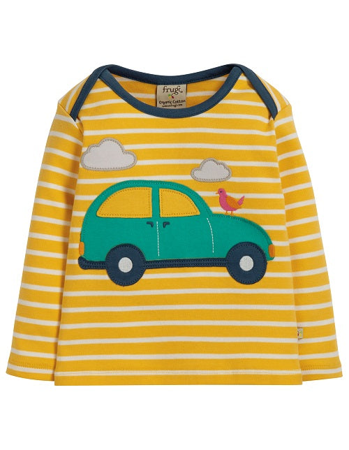 Frugi Bobby Applique Top, Bumble Bee Breton/Car (AW19)