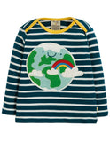 Frugi Bobby Applique Top Space Blue Breton/Earth (AW19)