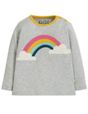 Frugi Button Applique Top Grey Marl/Rainbow (AW19)