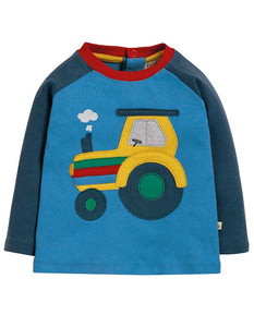 Frugi Henry Raglan Top Sail Blue/Tractor (AW19)