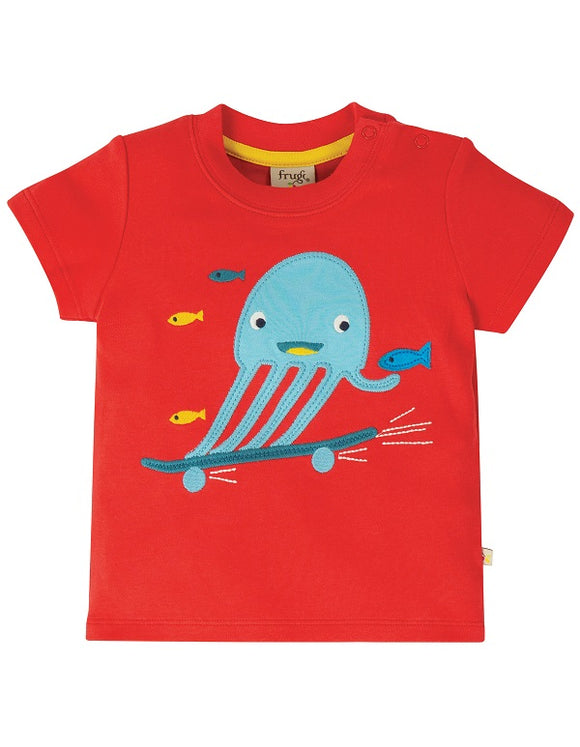 Frugi - Little Creature Applique Top in Koi Red/Jellyfish (SS20)