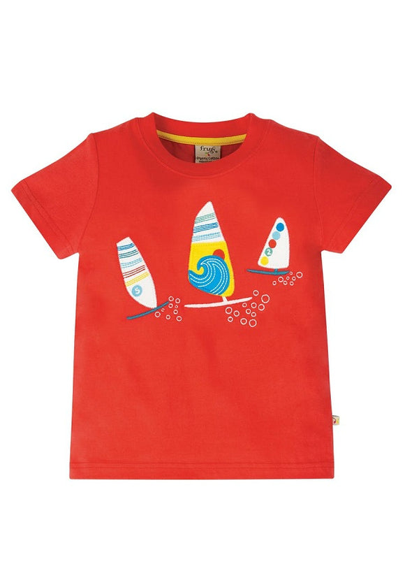 Frugi - Stanley Applique T-Shirt in Koi Red/Boats (SS20)