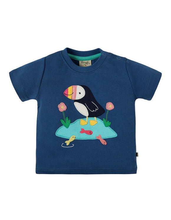 Frugi - Little Creature Applique Top Marine Blue/Puffin (SS19)
