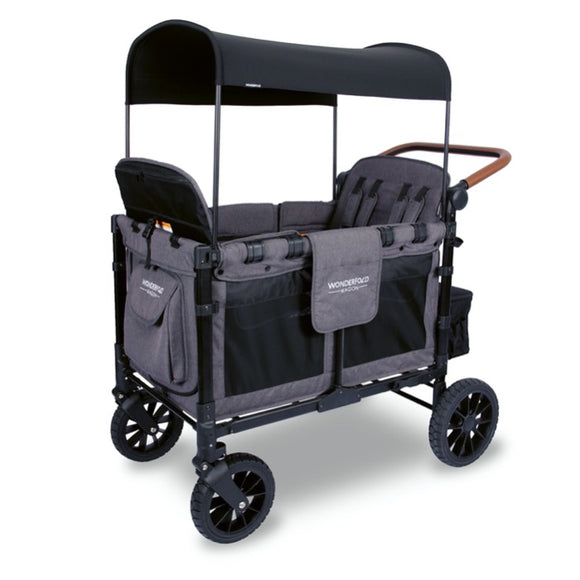 WonderFold W4S 2.0 Multifunctional Stroller Wagon (4 Seater) - Grey with Black Frame