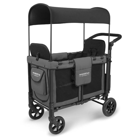 WonderFold Wagon W2 Twin Stroller Wagon in Grey/Black