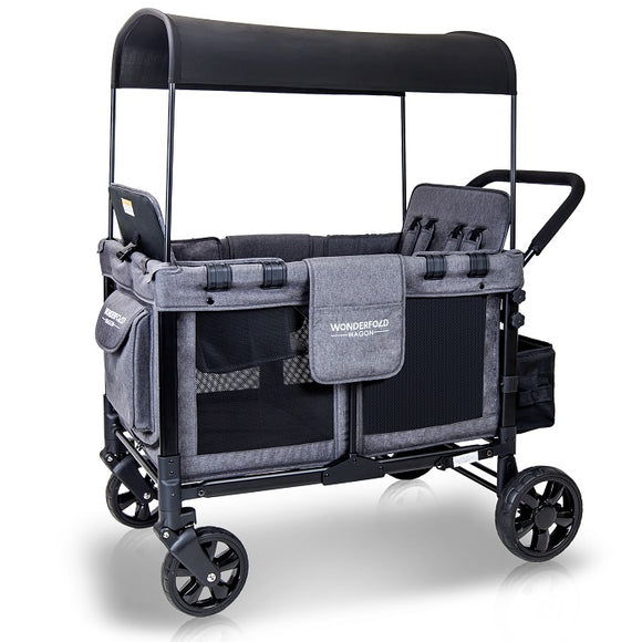 WonderFold Wagon W4 Quad Baby Stroller in Grey/Black