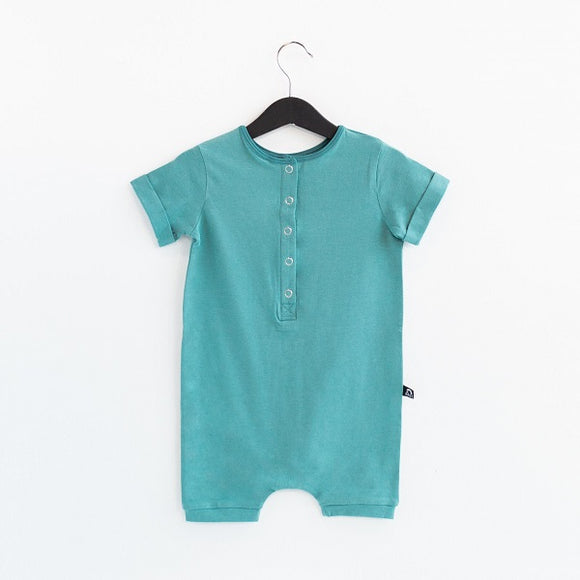 Rags Rolled Short Sleeve Henley Short Essentials Rag Romper in 'Bristol Blue'