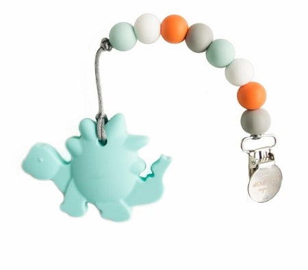 loulou LOLLIPOP - Aqua Dinosaur Teether & Holder Clip Set