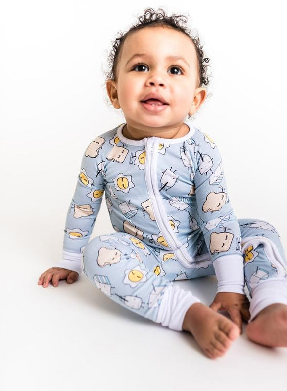 Little Sleepies Blue Breakfast Buddies Convertible Bamboo Zip Romper/Sleeper
