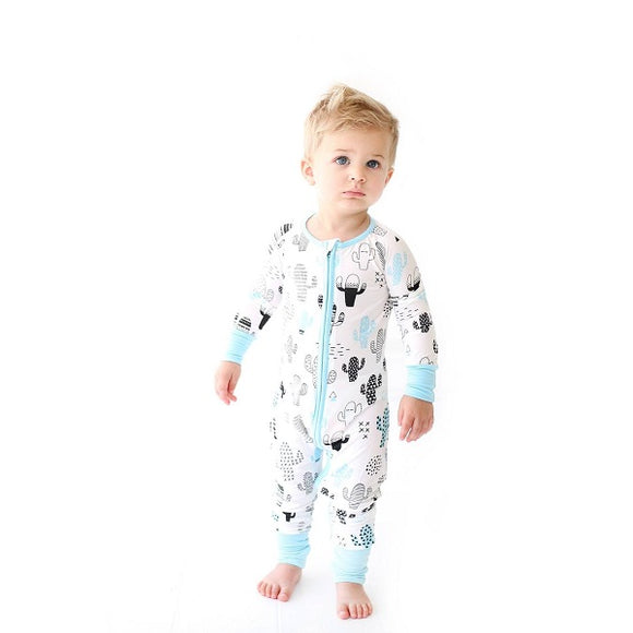 Little Sleepies Blue Cactus Convertible Bamboo Zip Romper/Sleeper