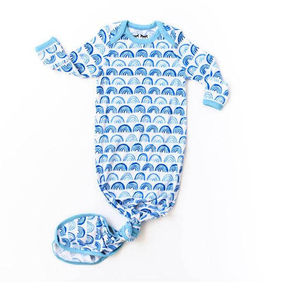 Little Sleepies Blue Rainbow Bamboo Infant Knotted Gown