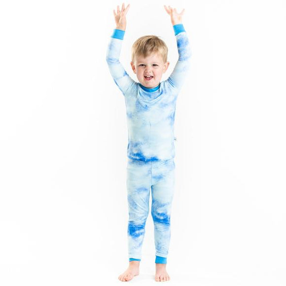 Little Sleepies Blue Watercolor Two-Piece Bamboo Viscose Pajama Set