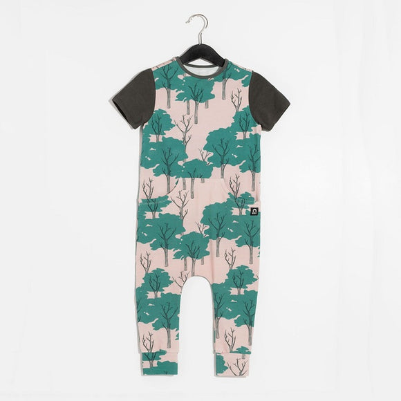 Rags Short Sleeve Faux Pocket Rag Romper in Park Trees