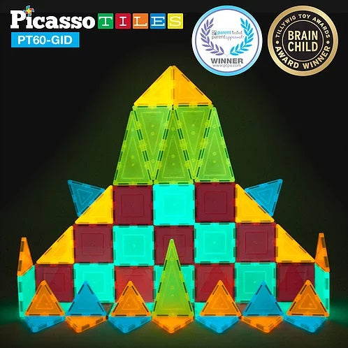 Picasso Tiles 60 piece Glow in the Dark Set