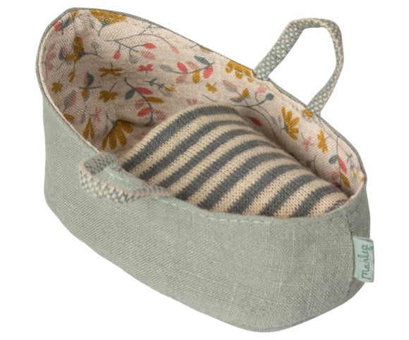 Maileg Carry Cot for Baby Mice in Dusty Green