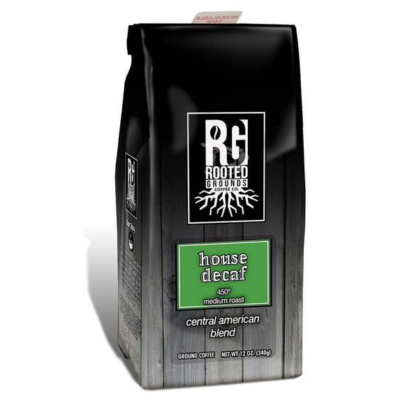 Rooted Grounds Coffee Co. 12oz Bag Ground House Decaf
