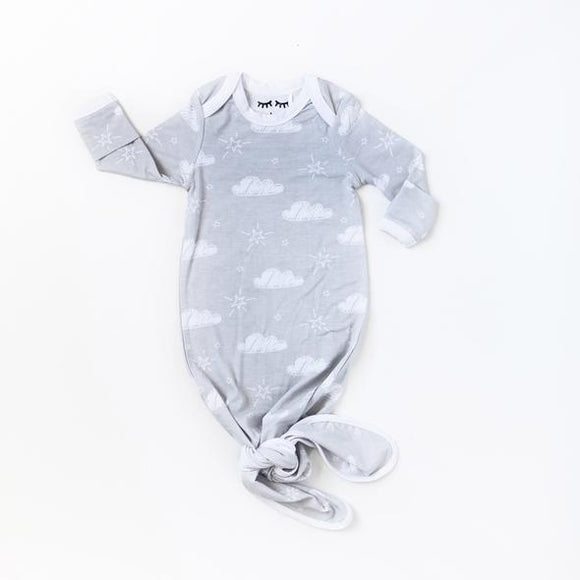 Little Sleepies Clouds Bamboo Infant Knotted Gown