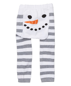 Doodle Pants - White Snowman Stripe Leggings