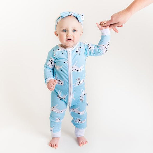 fb4e6cf2aa Little Sleepies Dalmations Convertible Bamboo Zip Romper Sleeper