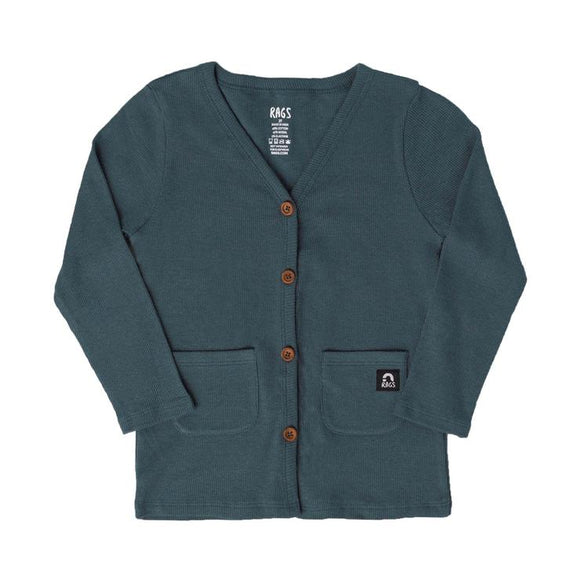 Rags to Raches Kids Pocket Cardigan in Dark Slate