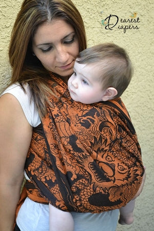 Lenny Lamb Wrap Conversion Ring Sling *DD Exclusive* - Drake Black & Orange (Cotton)