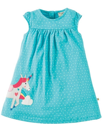 Frugi - Little Lola Dress Turquoise Spot & Unicorn (SS18)