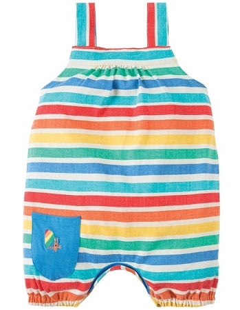Frugi - Beau Beach Dungaree Rainbow Candy Stripe (SS18)
