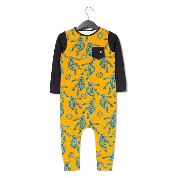 Rags Long Sleeve Chest Pocket Rag Romper in Astronauts
