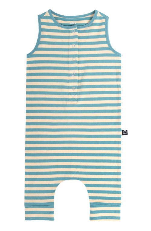 Rags Essentials Tank Henley Capri Rag Romper in Cameo Blue and Turtledove Stripe