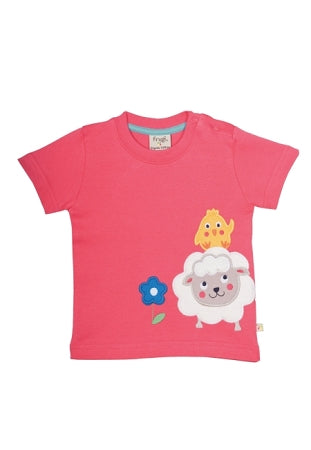 Frugi - Little Creature Applique T- Shirt in Raspberry/Sheep (SS16)