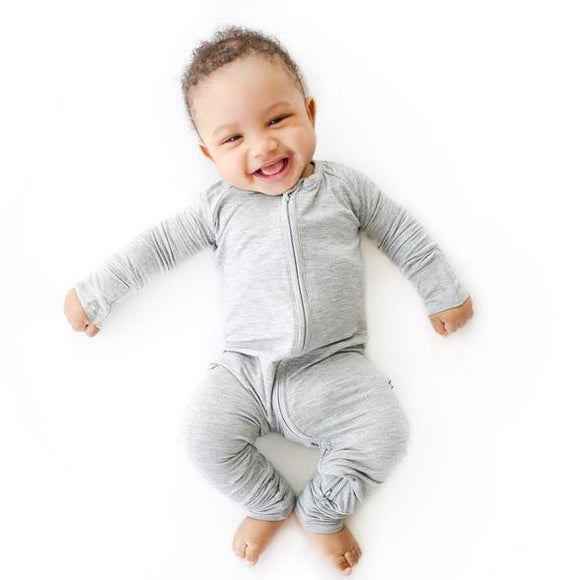 Little Sleepies Heather Gray Convertible Bamboo Zip Romper/Sleeper