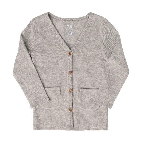 Rags to Raches Kids Pocket Cardigan in Heather Grey